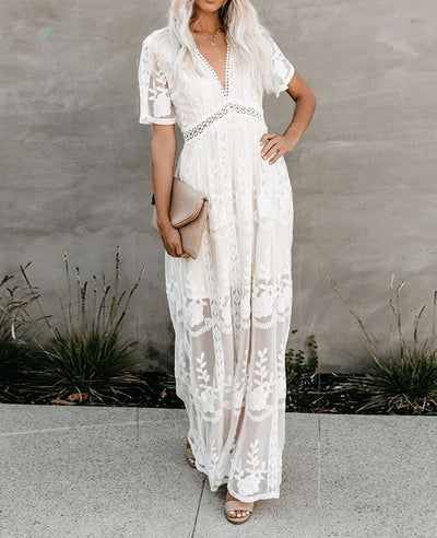 Long White Lace Boho Dress-1