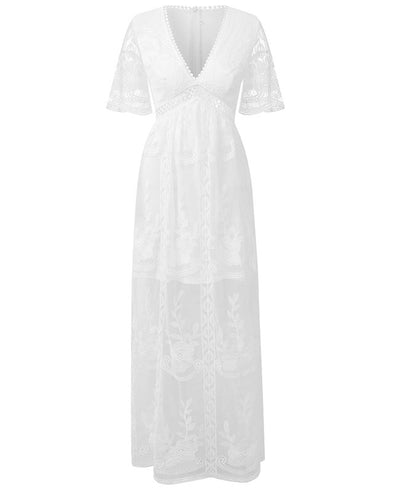 Long White Lace Boho Dress-5