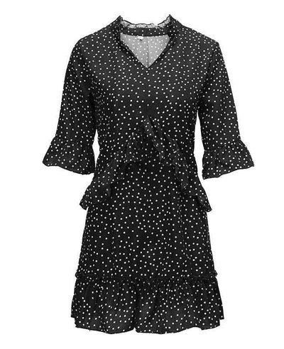 Loose Ruffle Polka Dot Dress-8