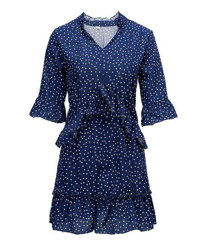 Loose Ruffle Polka Dot Dress-6