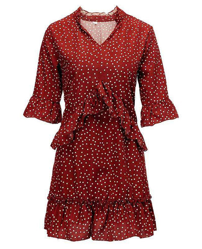 Loose Ruffle Polka Dot Dress-7