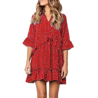 Loose Ruffle Polka Dot Dress-3