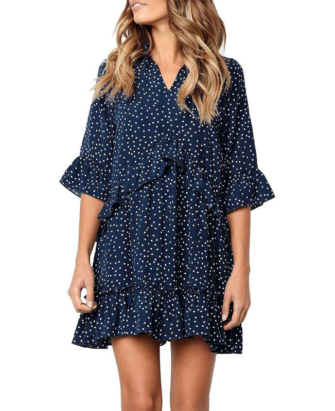 Loose Ruffle Polka Dot Dress-1