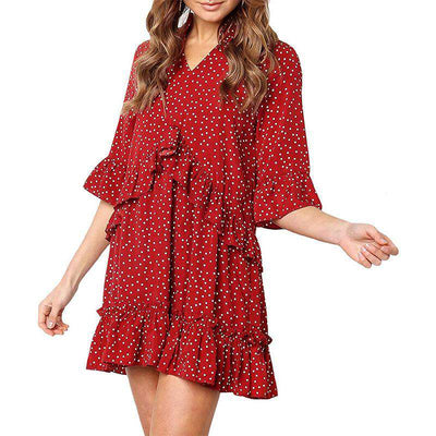 Loose Ruffle Polka Dot Dress-9