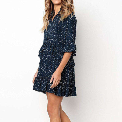 Loose Ruffle Polka Dot Dress-10