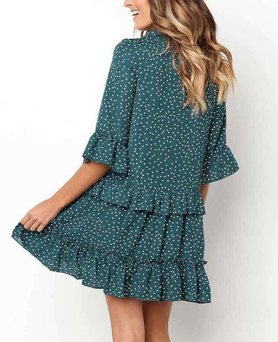 Loose Ruffle Polka Dot Dress-11