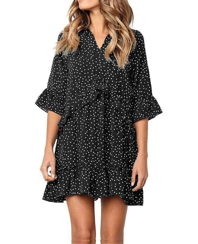 Loose Ruffle Polka Dot Dress-4