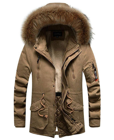 Men's Winter Coat with Fur Hood-1