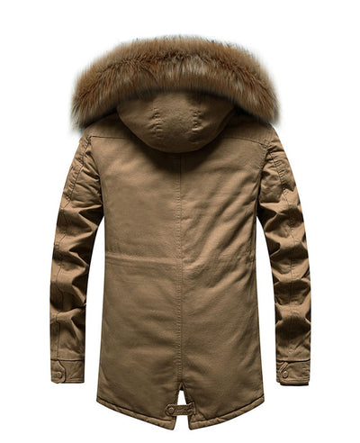 Men's Winter Coat with Fur Hood-3