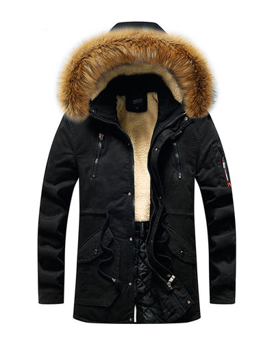 Men's Winter Coat with Fur Hood-2