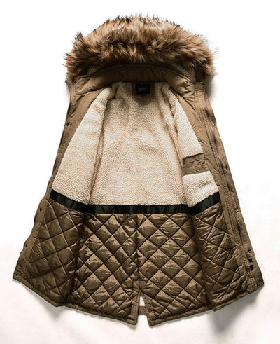 Men's Winter Coat with Fur Hood-4