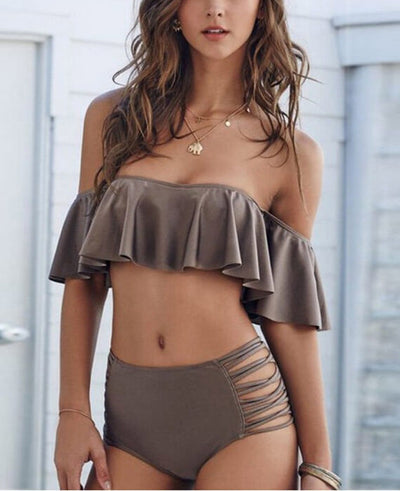 Off the Shoulder High Waist Push Up Bikinis Sets