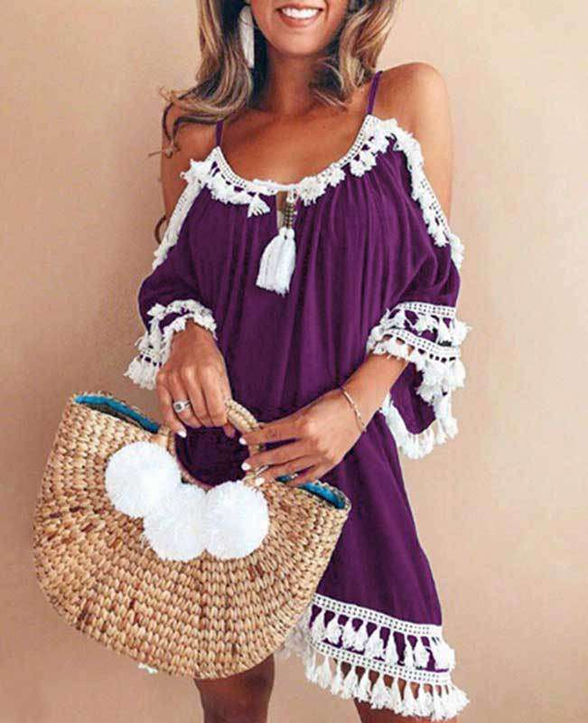 Off the Shoulder Tassel Dress  -1