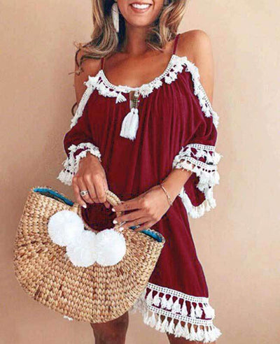 Off the Shoulder Tassel Dress-3