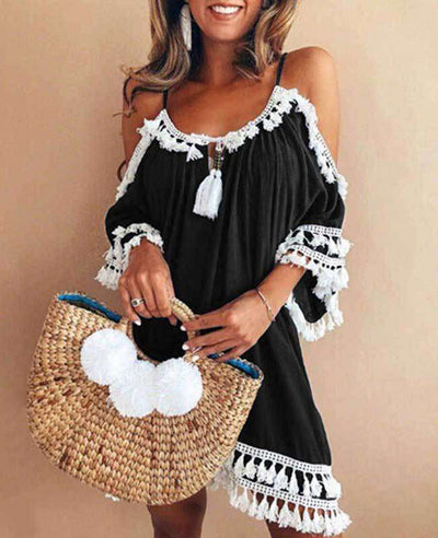 Off the Shoulder Tassel Dress-4