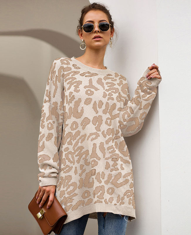 Oversized Leopard Print Sweater-1