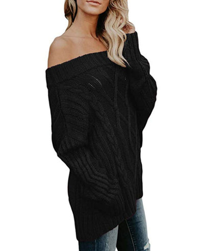 Oversized Off the Shoulder Sweater-15