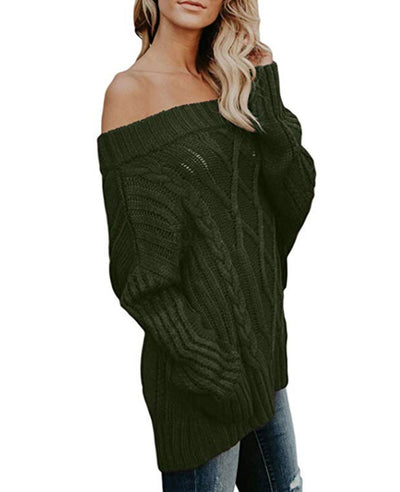 Oversized Off the Shoulder Sweater-17