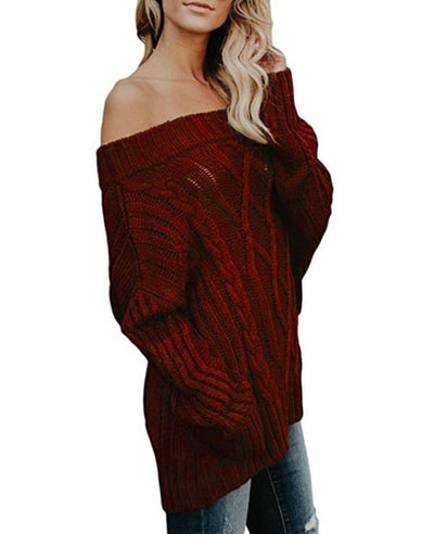 Oversized Off the Shoulder Sweater-12