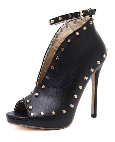 Peep Toe Rivets Ankle Boots