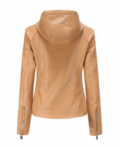 Plush Faux Leather Jacket with Hood-9