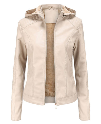 Plush Faux Leather Jacket with Hood-6