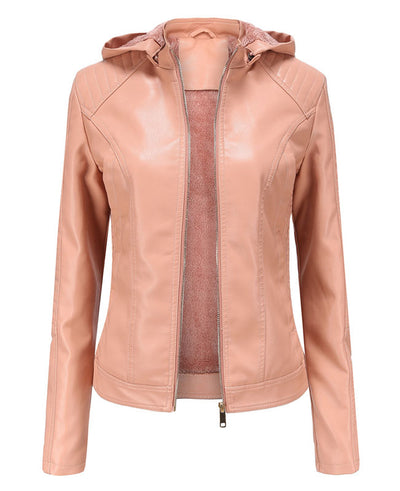 Plush Faux Leather Jacket with Hood-1