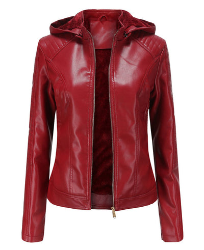 Plush Faux Leather Jacket with Hood-4