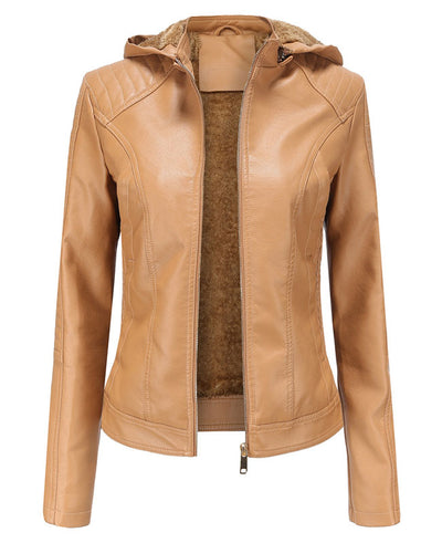 Plush Faux Leather Jacket with Hood-3