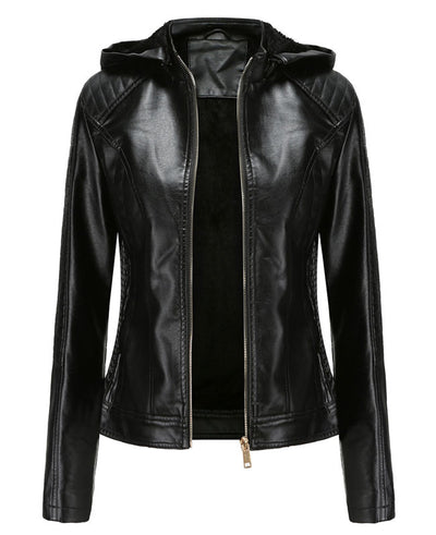 Plush Faux Leather Jacket with Hood-2