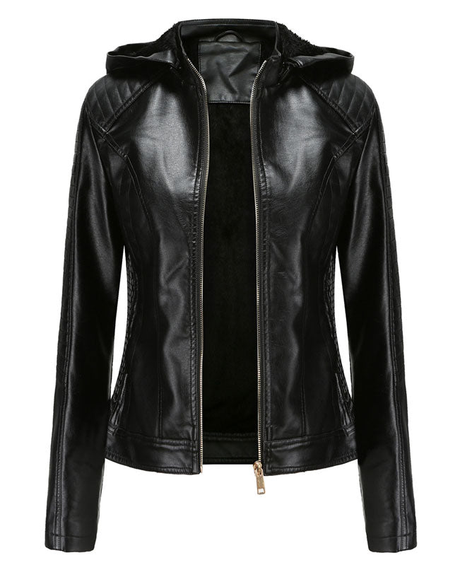 Plush Faux Leather Jacket with Hood