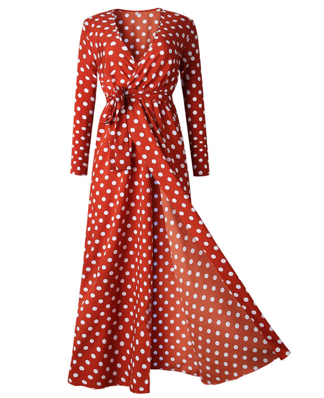 Polka Dot Bohemian Dresses with Sleeves