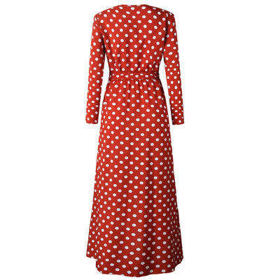 Polka Dot Bohemian Dresses with Sleeves-5
