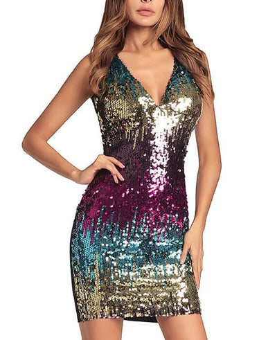 Sequins Sleeveless V-neck Party Bodycon Dress