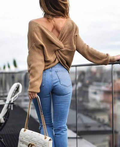 Sexy Cross Backless Batwing Knit Sweater
