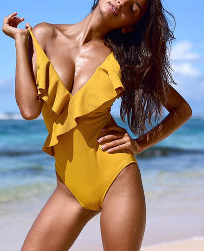 Sexy Push-Up Ruffle One Piece Swimsuit-1
