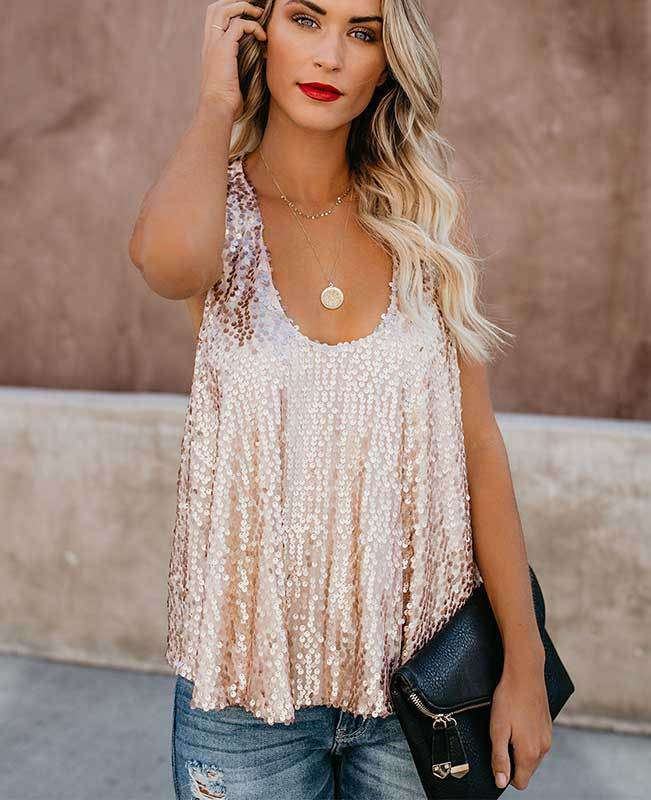 Sexy Shining Sequins Tank Tops