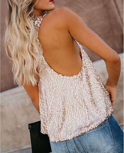 Sexy Shining Sequins Tank Tops-6