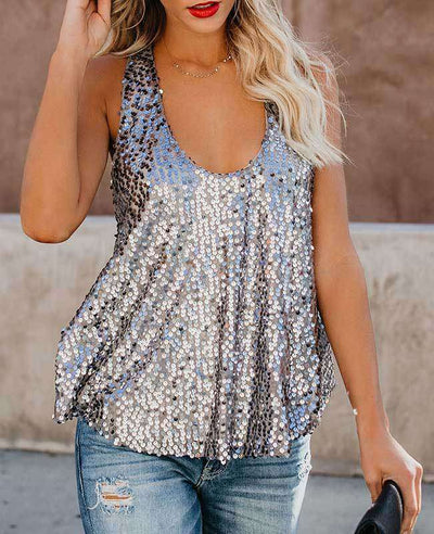 Sexy Shining Sequins Tank Tops-3