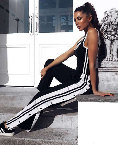 Side Split Black and White Striped Trousers-1
