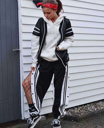 Side Split Black and White Striped Trousers-5