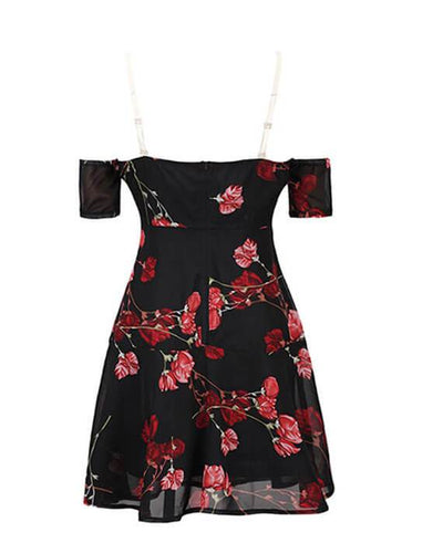 Black Floral Off the Shoulder Dress-4