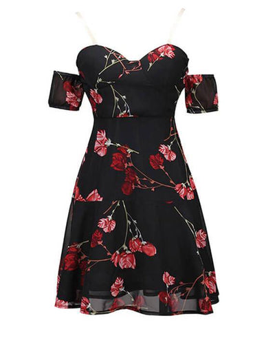 Black Floral Off the Shoulder Dress-3