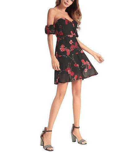 Black Floral Off the Shoulder Dress-5