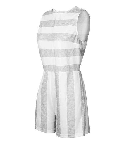Sleeveless Striped Jumpsuit Short-13