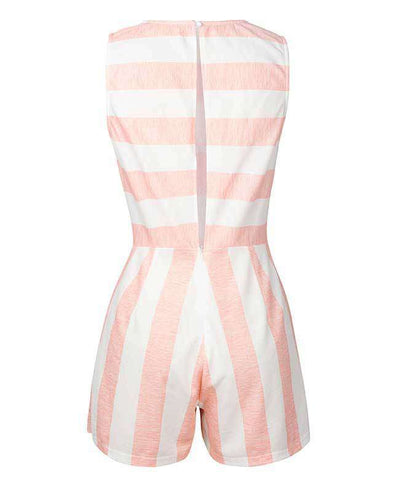 Sleeveless Striped Jumpsuit Short