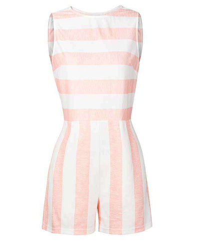 Sleeveless Striped Jumpsuit Short-6