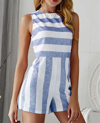 Sleeveless Striped Jumpsuit Short-1