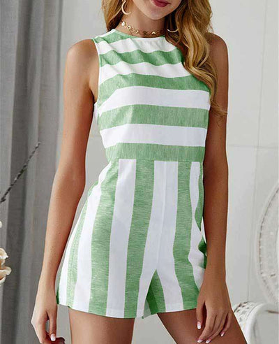 Sleeveless Striped Jumpsuit Short-2