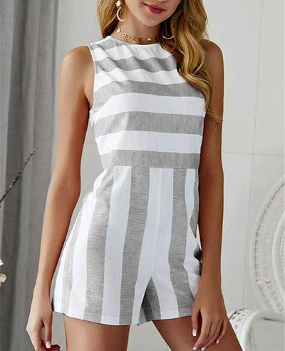 Sleeveless Striped Jumpsuit Short-3